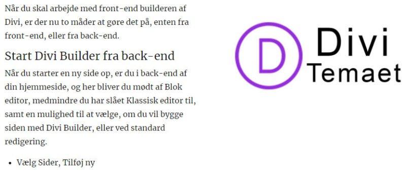 Front-end Divi Builder - Arbejde med tekst og billeder