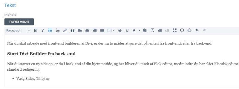 Front-end Divi Builder - formatere tekst