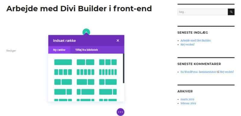 Front-end Divi Builder - opret rækker