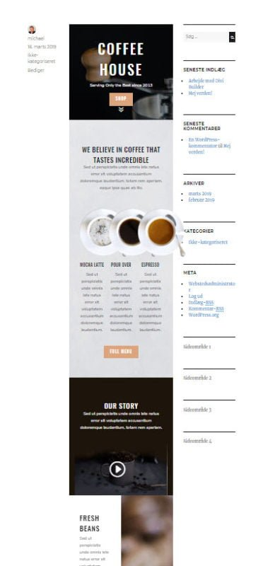 Coffee shop layout i front-end