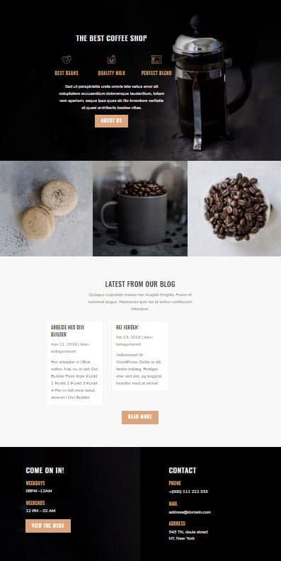Layout med Coffee shop og Divi temaet