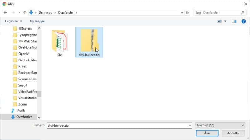 Plugin, Find fil, klik Åbn