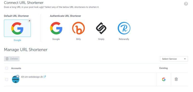 URL Shortening oversigt