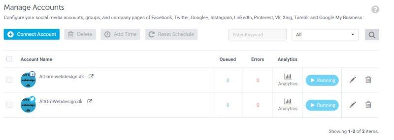 Oversigt over forbundne social media konti