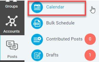 Klik på Posts, Calendar