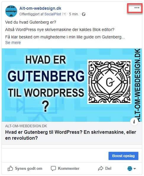 Facebook post er udgivet, kan redigeres på de tre prikker øverst til højre