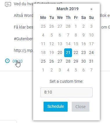 Skift dato og/eller tid, og klik på Schedule