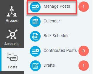 Klik på Posts, Manage posts