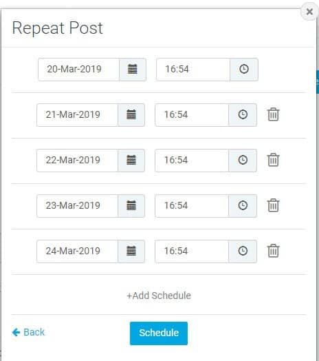 Tilpas gentagelser, og klik Schedule
