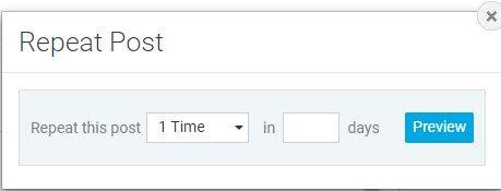 Vælg hvor mange gange indlægget skal udgives i løbet af antal dage