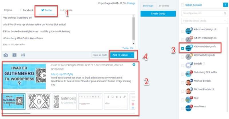 Kontroller indholdet er korrekt, vælg profil, og klik Add to Queue
