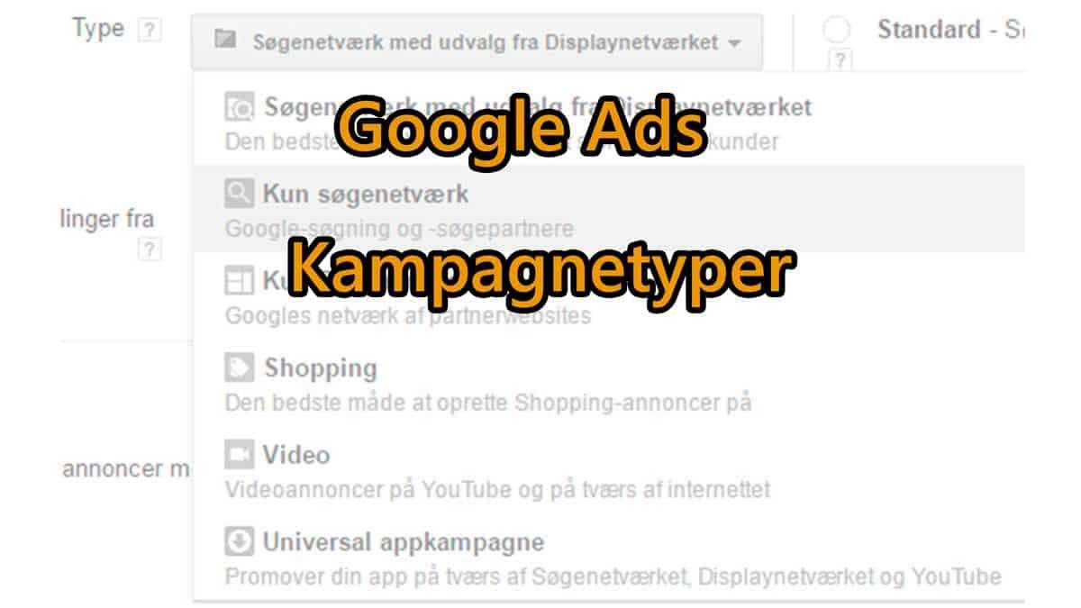Google Ads kampagnetyper