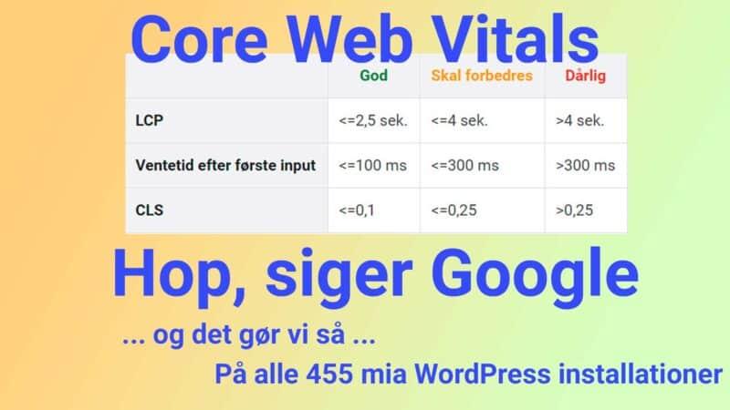 Core Web Vitals - hastighed er vigtig