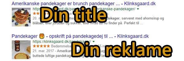 Title og description er reklamen i Google